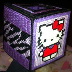 Purple zebra hello kitty plastic canvas tissue box!!! Awesome.