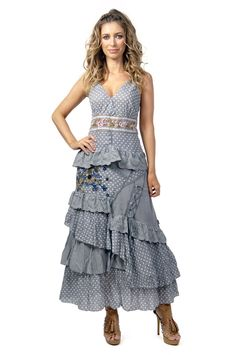 Savage Culture: Lovely Lola Embroidered and Ruffled Long Sundress. Simply stunning in every way, only on WC!