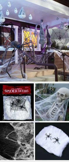 This stretchy spider web will give your house or apartment the haunted look it needs on All hallows eve. Haunted House Decorations, Scary Halloween Decorations, Halloween Party Decor, Halloween House, Diy Party Decorations, Halloween Diy, Halloween 2019, Halloween Inspo, Outdoor Halloween