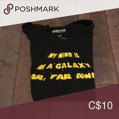 "Shop Women's Bluenotes Black Yellow size S Tees - Short Sleeve at a discounted price at Poshmark. Description: Graphic tee with the inscription, ""My mind is in a galaxy far far away"". Black N Yellow, Graphic Tees, Short Sleeves, Closet, Things To Sell, Tops, Women, Style, Fashion"