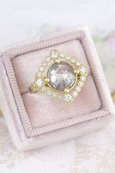 This grey diamond Scarlett ring is a wonderfully intricate and delicate halo engagement ring. Grey Diamond Ring, Unique Diamond Rings, Vintage Diamond Rings, Rose Cut Diamond, Unique Rings, Halo Diamond, Vintage Rings, Vintage Inspired Engagement Rings, Halo Engagement Rings