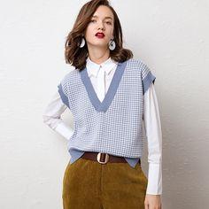 2019 V-neck Cashmere Vest Women's Casual Loose Sweater Stitching Plaid Vest Short Fashion Knit Vest Autumn Winter Cashmere Vest Vest Outfits For Women, Blazers For Women, Sweaters For Women, Clothes For Women, Plaid Vest, Knit Vest, Loose Sweater, Knit Fashion, Pull
