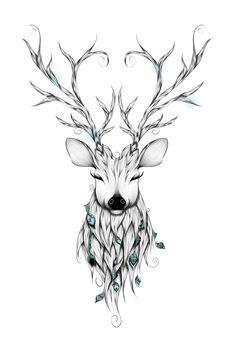Poetic Deer Art Print by LouJah