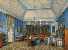 Interiors of the Winter Palace. The Fifth Reserved Apartment. The Study of Grand Princess Maria Alexandrovna by Edward Petrovich Hau - Architecture, Interiors Drawings from Hermitage Museum Interior Rendering, Interior And Exterior, Interior Design, Palacio Imperial, Kremlin Palace, Winter Palace, Hermitage Museum, Watercolor Images, Watercolour Drawings