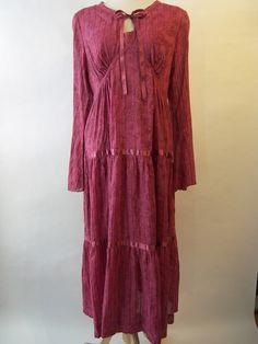 NWT~April Cornell~2 pc. Tiered Dark Pink SONNET Dress - Small #AprilCornell #Casual