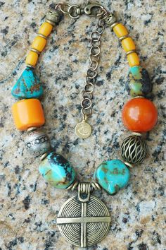 Casablanca: Moroccan-Inspired Turquoise, Amber, Silver and Brass Shield Statement Necklace $275