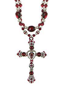 Garnet Heart Cross with Double Beaded Chain Necklace $149.00 http://www.celebrateyourfaith.com/Garnet-Heart-Cross-with-Double-P13919C1700.cfm