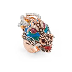 Dragons-Limited Edition Ring - Roberto Coin - Dragons, Limited Edition ring in 18kt peach and white gold with diamonds, rubies and coloured enamel.