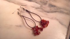 Carnelian Chip Stone Leather Dangle Earrings by WhereTheUnicornsGo, $9.00