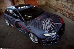 Audi RS6 dazzle camo | DESIGN ATELIER TTSTUDIO Audi A6 Rs, Audi Rs6, Megane Rs, Porsche 911 Rsr, Camo Designs, Car Painting, Car Wrap, Car Detailing, Car Stickers