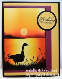 Sunset Goose Silhouette Card Created By Michelle Zindorf using Stampin' Up! gorgeous example of her brayering technique to create a sunset scene with silhouettes of goose and sea grass . Masculine Birthday Cards, Birthday Cards For Men, Handmade Birthday Cards, Masculine Cards, Wetlands Stampin Up, Making Greeting Cards, Stamping Up Cards, Bird Cards, Animal Cards