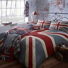 Grey 'Vintage Union Jack' bed linen - Duvet covers & pillow cases - Bedding - Home & furniture -      I actually quite like the white washed brick walls, maybe not the warmest idea but fab none theless