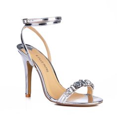 DolphinGirl Women Fashion Rhinestone Open Toe High Heel Sandals with Ankle Strap Wedding Dress Pumps Stiletto Strap Bluckle Shoes SM00400. Manmade Fashion Women's Pumpes. Material: PU Manmade Leather. Heel measurement 10CM=3.93inch. Open Toe Sandals With Ankle Strap. Lightly padded footbed.
