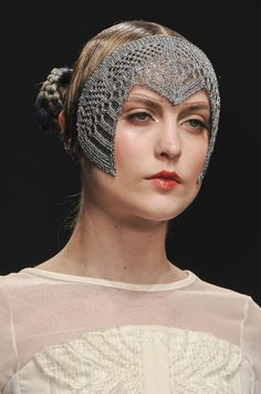 Bora Aksu Fall 2013 - Details. How amazing are these head pieces for the runway collection?