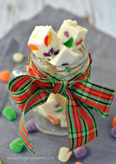 Gumdrop Fudge Recipe ~ Creamy Vanilla Fudge filled with colorful holiday Gumdrop candy pieces! So pretty for gift giving!
