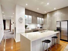 Modern open plan kitchen design using hardwood - st George site