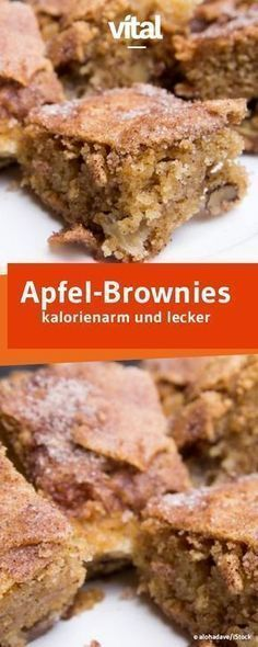 Super saftig und leicht sind die Apfel-Brownies mit gerade einmal 114 kcal pro S… Super juicy and light are apple brownies with only 114 kcal each. Healthy Cake Recipes, Healthy Baking, Healthy Desserts, Smoothie Recipes, Baking Recipes, Sweet Recipes, Healthy Cookies, Vegan Sweets, Brunch Recipes