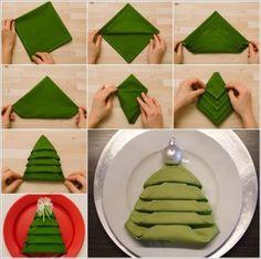#Christmas Tree Folded Napkin. #decoration