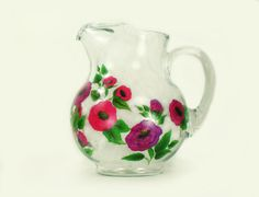 Hand Painted Pitcher  Bright Pink Purple by HandPaintedPetals, $53.00