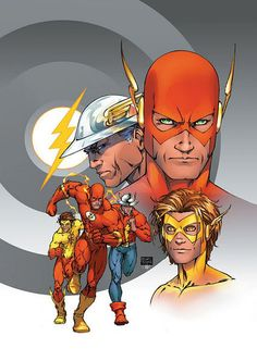 The Flash Family by Michael Turner (Barry Allen, Jay Garrick, Wally West, Bart Allen)