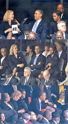 LMAO. Class-act President yucking it up with hot Danish PM Helle Thorning-Schmitt at Mandela service - notice how pleased FLOTUS is !!  https://www.facebook.com/gregbudell