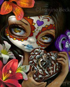 Milagros: Corazon - Dia de los Muertos Art by Jasmine Becket-Griffith lowbrow big eye calavera makeup sugar skull Day of the Dead pop surrealism milagros