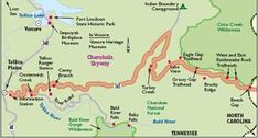 View Enlarged Image The Cherohala Skyway takes you to mile-high mountain and woodland vistas. This map shows the Tennessee portion of the Skyway. Motorcycle Travel, Motorcycle Rides, Oh The Places You'll Go, Cool Places To Visit, Tellico Plains, Nc Mountains, Us Road Trip, Tennessee Vacation, Map