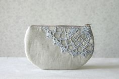 Linen and  vintage doily small clutch zipper pouch by HelloVioleta, $19.00