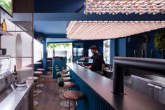 Minéral Bar / Blanchette Architectes   ArchDaily Coffee Restaurants, Polycarbonate Panels, Dramatic Lighting, Wooden Ceilings, Scenic Design, Cabinet Makers, Hospitality Design, Mediterranean Style, Bar