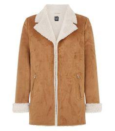 Teens Tan Faux Shearling Lined Longline Jacket  | New Look