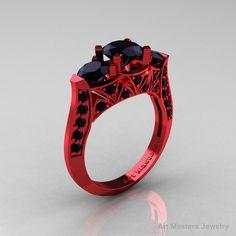 Modern 14K Red Gold Three Stone Black Diamond Solitaire Engagement Ring, Wedding Ring R250-14KRGBD. $2,899.00, via Etsy.