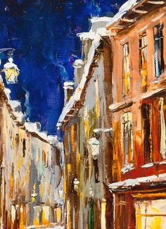 'Christmas Street' by Gleb Goloubetski Oil on Canvas 60cm x 50cm