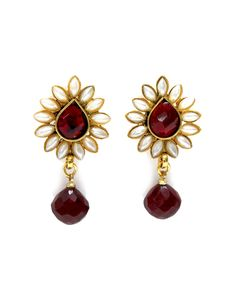 Red Contemporary Mughal Earrings by JewelMint.com, $42