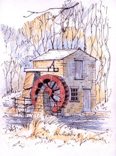 The water mill at the Monet Gardens in Roundhay Park, Leeds ~ sketch with frozen hands