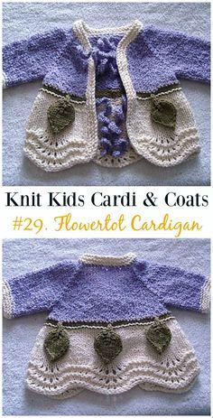 Knitting Patterns For Kids Flowertot Cardigan Free Knitting Pattern - Kids Sweater Coat Free Patterns Knitting For Charity, Knitting For Kids, Baby Knitting Patterns, Free Knitting, Crochet Girls, Crochet For Kids, Crochet Baby, Knit Crochet, Knitted Baby
