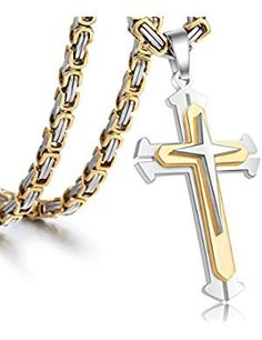 Cheap knights cross, Buy Quality stainless steel chain directly from China steel chain Suppliers: Trendsmax Mens Necklace Pendant Stainless Steel Chain 3 Layer Knight Cross Silver Gold Black Color Catholic Cross Necklace, Or Noir, Gold Chains For Men, Mens Crosses, Men Necklace, Pendant Necklace, Necklace Chain, Cross Necklaces, Fashion Necklace