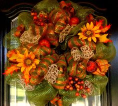 Deco Mesh FALL Sage Green, Orange Copper Wreath
