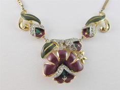 RARE Vintage 1939 CORO Lotus Blossom Flower Red Enamel & Rhinestone Necklace