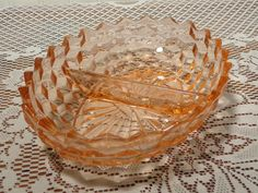Vintage Relish Dish by American Whitehall - Divided Oval Peach Indiana Glass Nut Dish  -  15-806 by BubbiesMemories on Etsy