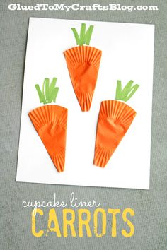 cupcake liner carrot cards Cupcake Liner Carrots - easy craft for kids! Preschool Art Projects, Art Activities, Preschool Crafts, Craft Kids, Cupcake Liner Crafts, Cupcake Liners, Glue Crafts, Easy Crafts, Arts And Crafts