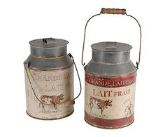 2 Pots à lait, rouge et gris - H26