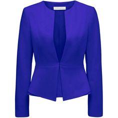 Forever New Kirsten skirted hem blazer ($49) ❤ liked on Polyvore featuring outerwear, jackets, blazers, blazer, coats & jackets, neon cobalt, neon blazer, tailored blazer, collarless blazer and forever new