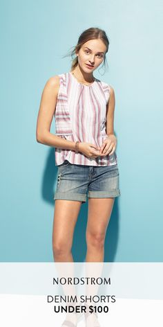 The best denim shorts under $100 from Nordstrom! Lots of styles to pick from including these great cuffed shorts. with a light wash. Also shop for bermuda shorts, overalls, distressed denim and more.