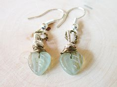 Minty Leaf Earrings Czech Glass Leaves Mint green Wire wrapped Sterling SIlver brass Dangle Spring Pastel Fashion