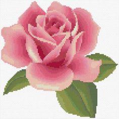 Punto De Cruz Rose - Free cross-stitch design 'Rose', 110 x 110 stitches 28 colors Simple Cross Stitch, Cross Stitch Rose, Cross Stitch Flowers, Cross Stitch Charts, Cross Stitch Designs, Cross Stitch Patterns, Crochet Quilt, Crochet Cross, Tapestry Crochet