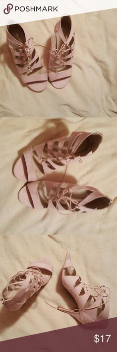 Strappy Suede Heels (Pink), Sz 13 These cutout heels from Torrid are chic and provides a pop of color to many outfits. Never worn. Submit an offer! torrid Shoes Heels