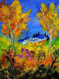 Outono - Cores fortes e vibrantes nas pinturas de Pol Ledent