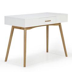 Volta Console laqué blanche avec 1 tiroir et piétement en bambou  (comme coiffeuse/petit bureau ?)