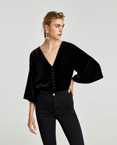 Image 2 of VELVET BODYSUIT WITH FAUX PEARLS from Zara