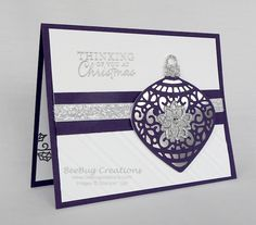 BeeBug Creations: Embellished Ornaments - Delicate Ornaments Thinlits - Stylish Stripes EF - Elegant Eggplant - Silver Foil Sheets - Silver Glimmer Paper